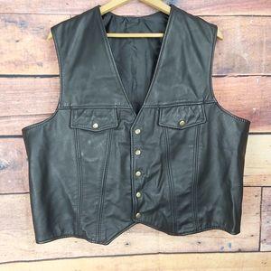 Motorcycle biker leather vest XL
